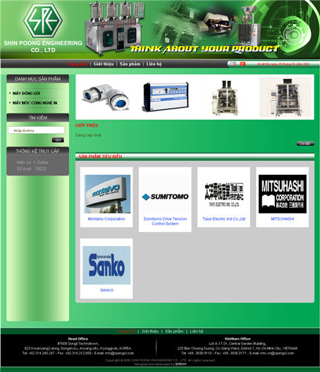 Thiet Ke Website SHIN POONG ENGINEERING CO LTD