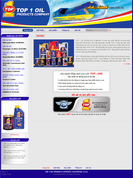Thiet Ke Website Top 1 Oil Products Company
